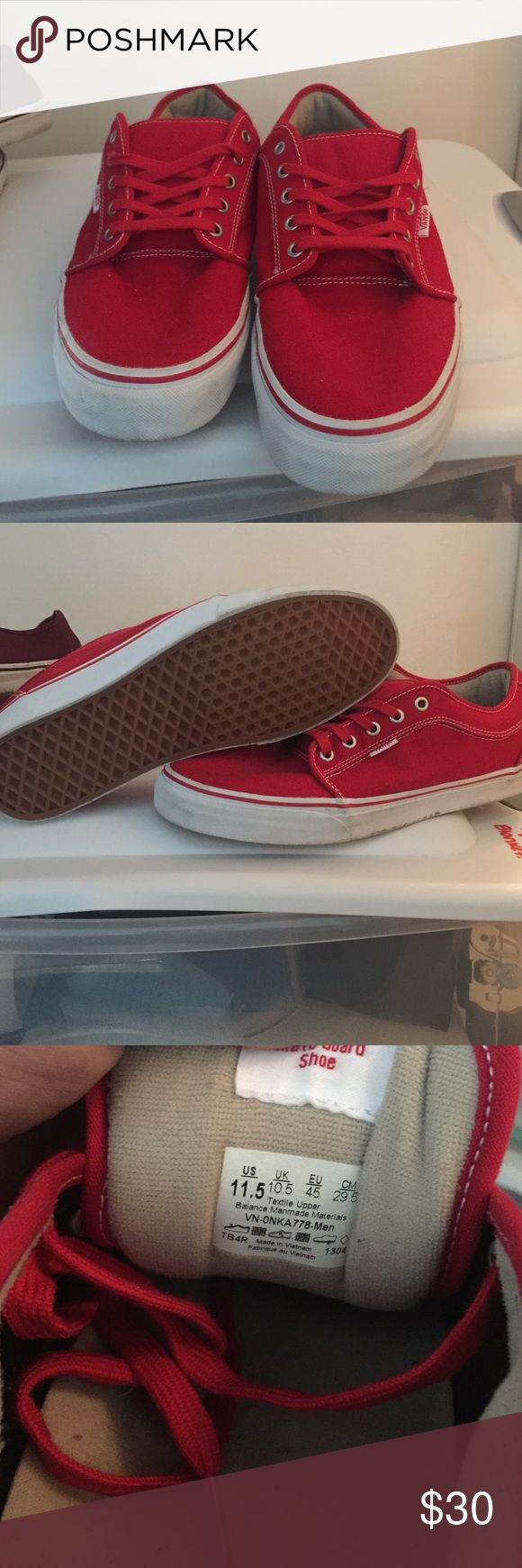 Red Vans Chukka Low sneaker size 11.5 For sale is a pair of red and white Vans Chukka Lows. These are a size 11.5 and only worn one/two times. Kept in excellent condition! Thanks! Vans Shoes Sneakers