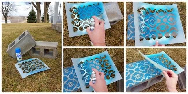 Cinder Block Corner Planter with each block stenciled a different shade! {Reality Daydream}