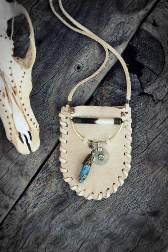 RAW BLUE SKY KyANITE Leather Pouch Tribal by WildPeopleFreeSpirit