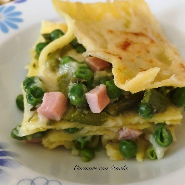Lasagne con asparagi, piselli e prosciutto!