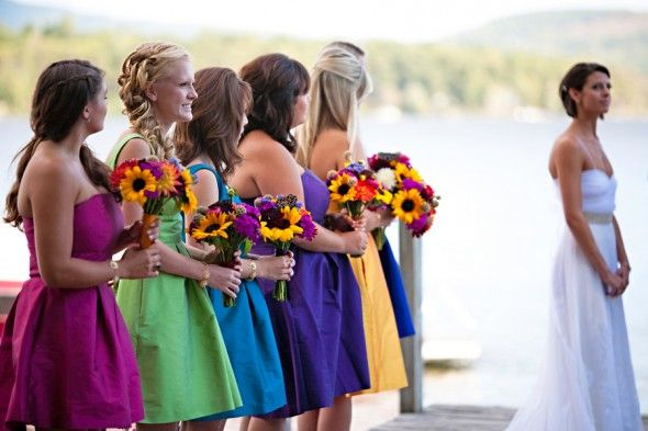 Different Color Bridesmaid Dresses - I def love this becuz altho Iove purple ...I also can't make decisions and for my friends I want them to like their dress too. Perfect!