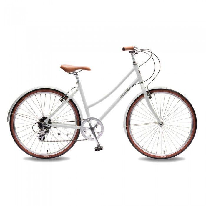 Bicicletta da donna con telaio in alluminio extra-leggero e cambio Shimano 8 velocità.