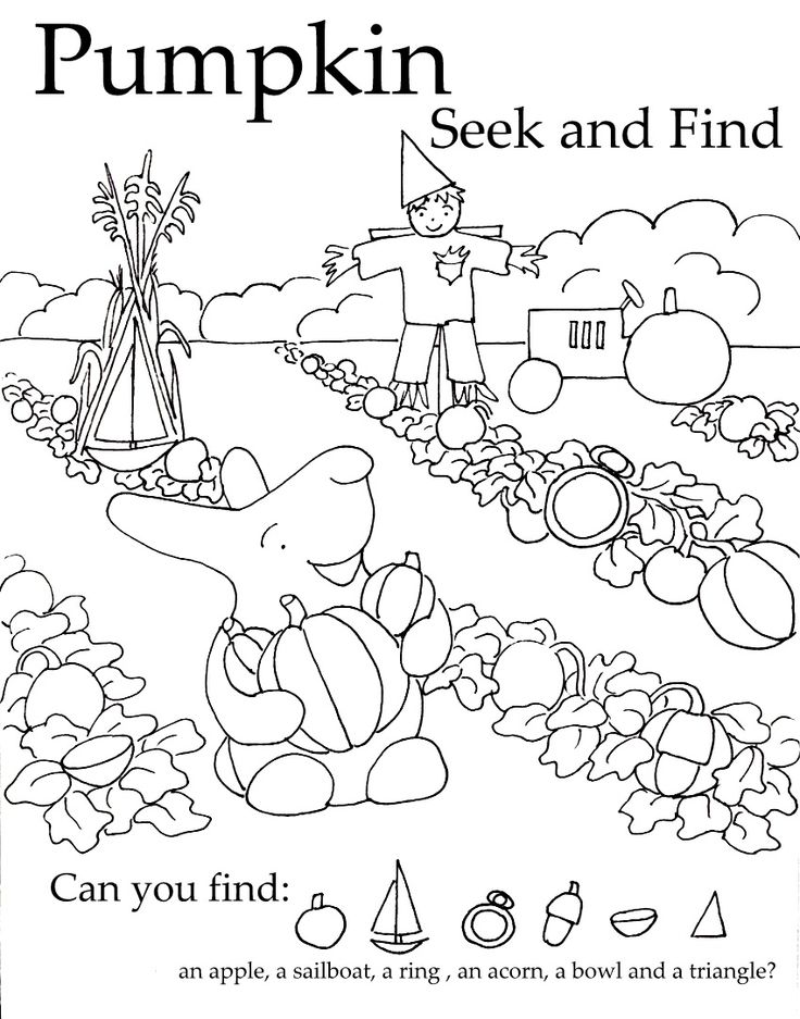 """This Pumpkin Seek-and-Find coloring sheet takes Peter Rabbit and turns him into """"Peter, Peter, Pumpkin Eater."""" #free"""