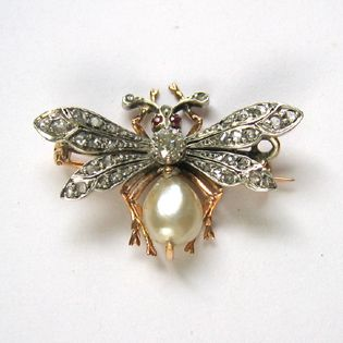 A French 19th century pearl and diamond bee brooch
