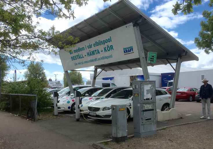 Solar power car charging - Helsingborg Sweden