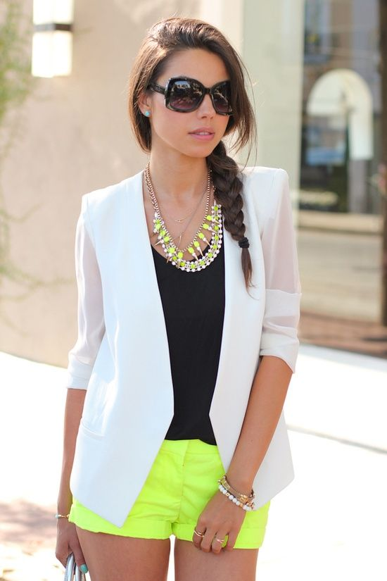white blazer, black top, neon shorts and necklace!