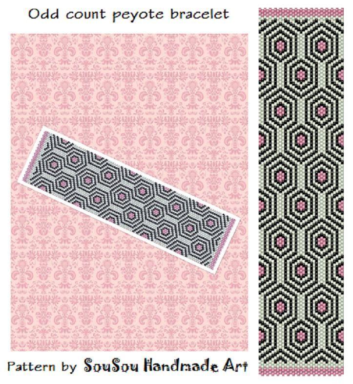 Instant download pattern, Peyote bracelet pattern, Odd count peyote stitch, Beaded bracelet pattern, Seed bead pattern, Peyote cuff pattern by SouSouHandmadeArt on Etsy