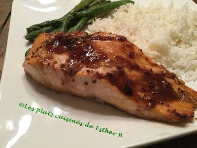 Les plats cuisinés de Esther B: Filet de saumon au vinaigre balsamique, miel et Di...
