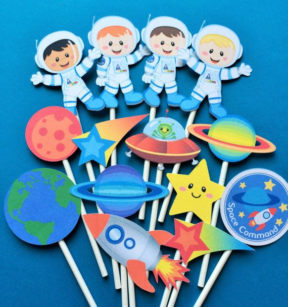 Astronaut cupcake toppers, astronaut birthday party toppers, space party, space cupcake toppers, earth cupcake toppers, planets, stars