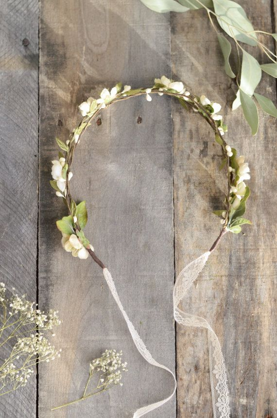 Bridal flower crown Rustic woodland crown Ivory by gardensofwhimsy