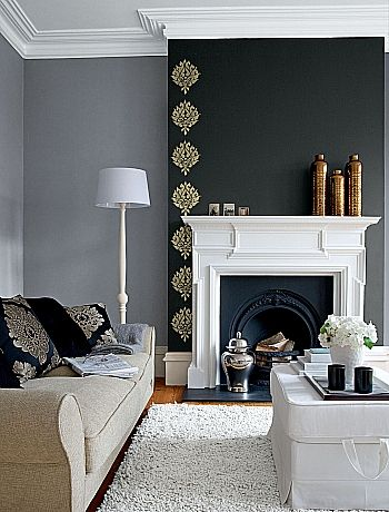 Dark feature wall with gold leaf stencil (instead of wall paper), instead of fireplace being left open or covered with a screen, simple decorative items were placed there to give a fresh look to this area. (sources uktv.co.uk/home) palmbeacheshomestaging.com