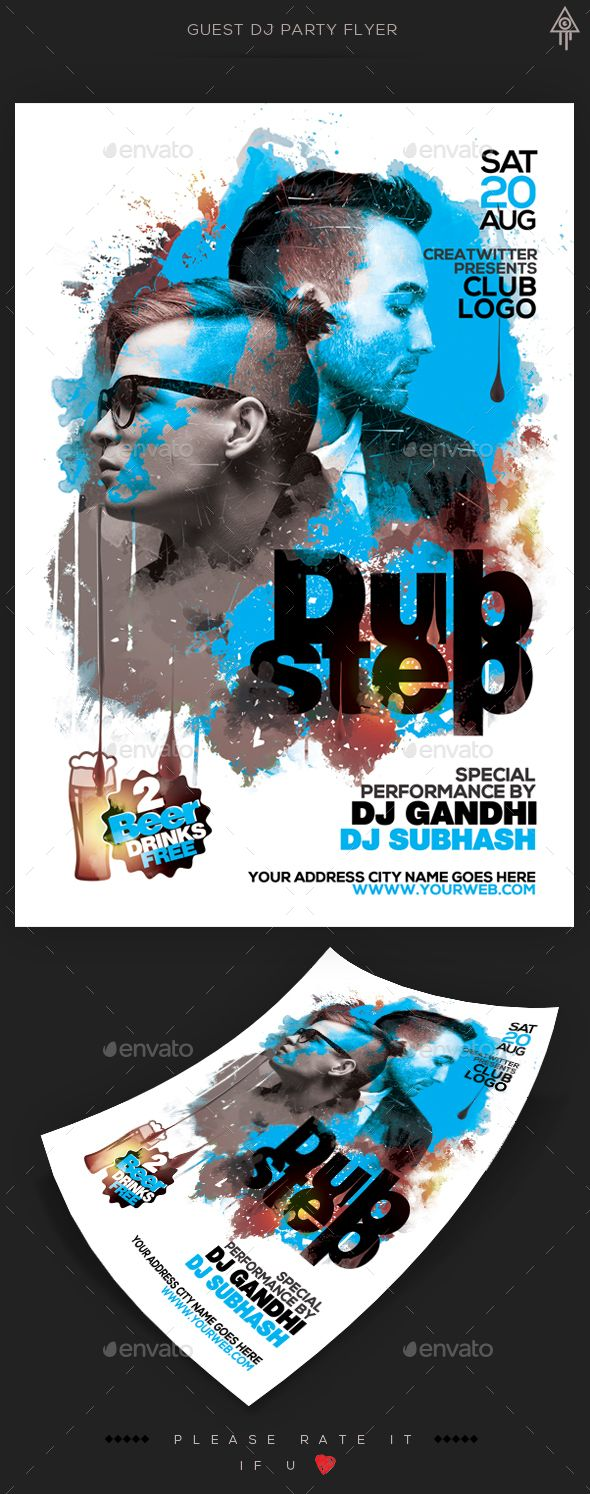 Guest Dj Party Flyer Template PSD. Download here: http://graphicriver.net/item/guest-dj-party-flyer/15557726?ref=ksioks