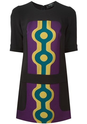 Black and purple silk printed panel fitted dress from Giulietta New York.