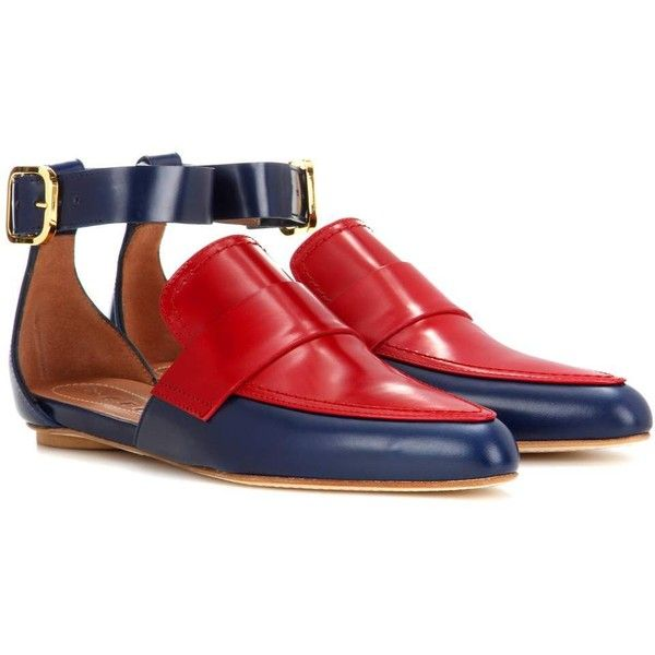 Marni Slip-on Leather Sandals (£485) ❤ liked on Polyvore featuring shoes, sandals, flat shoes, blue, loafers, blue loafers, leather sandals, leather slip-on shoes, blue sandals and slip on sandals