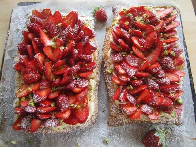 Free-form Strawberry Tart Crisp Pastry, Fresh Strawberries and Cream. Recipe and photography by Claire Aldous.