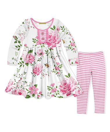 a32d8f841b9ce Loving this White Floral Button-Front A-Line Dress & Light Pink Stripe  Leggings Set - Toddler & Girls on #zulily! #zulilyfinds