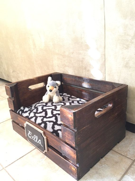 Wooden Dog Bed  Wine Crate Dog Bed for Small by SkippersWoodworks