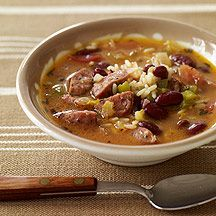 Our Slow Cooker Read Bean, Sausage, and Rice soup is full of flavorful and filling ingredients. Switch to a chicken based Italian sausage if the andouille is too spicy for your taste. #recipe #WWLoves