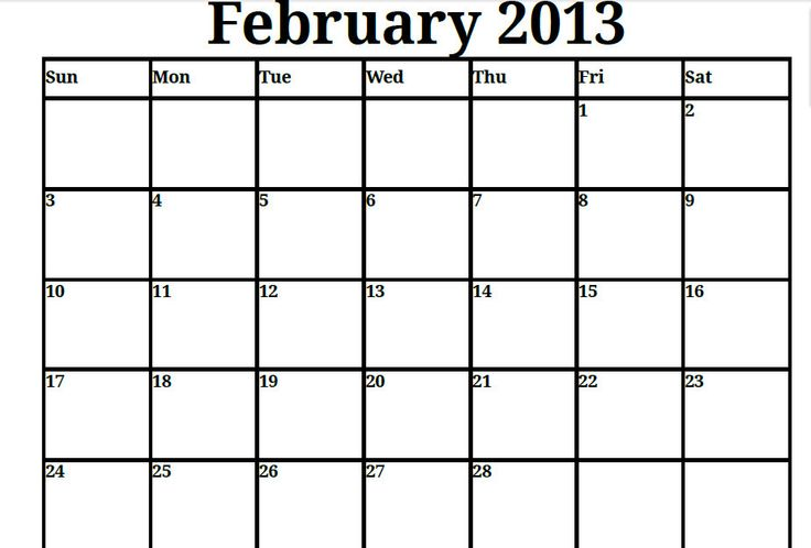 Printable Blank PDF February 2013 Calendar Printable Monthly - blank roster