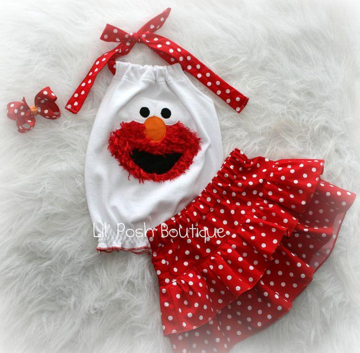 Elmo Inspired Skirt Set: Red an White Polka Dot. $49.00, via Etsy.