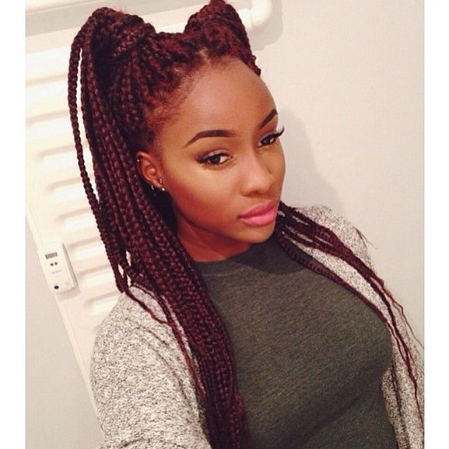 burgundy box braids - Google Search