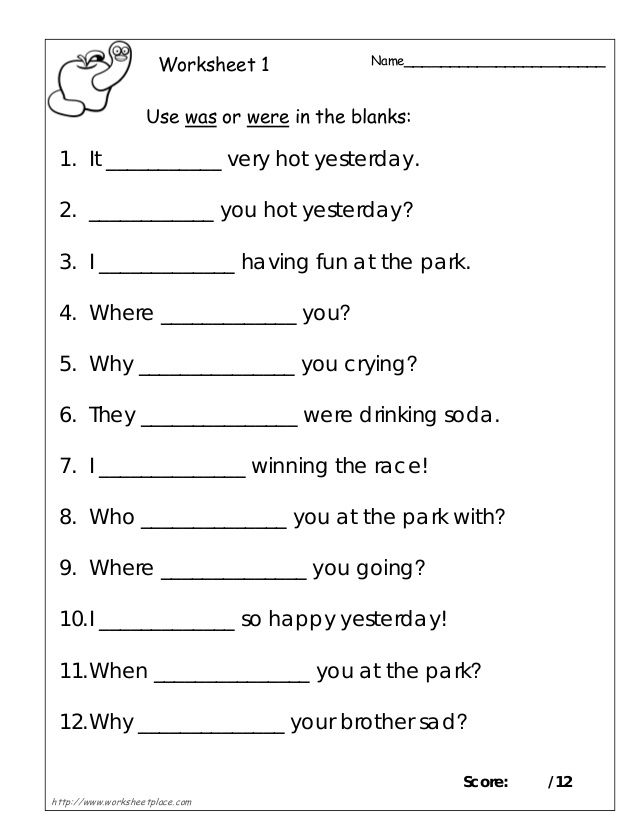 Was Or Were 1 Grammar Worksheets Kindergarten Grammar Worksheets English Grammar Worksheets
