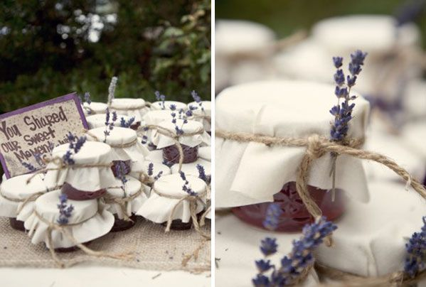 Lavender favours for a lavender themed wedding.