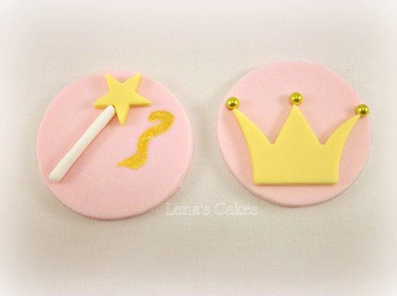 Princess Cupcake Toppers, Fondant Toppers, Edible Toppers, Princess Party Decor, Baby Shower Princess Birthday, Crown Topper, Girl Cupcake