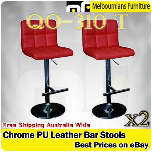 NEW PAIR OF QUALITY PADDED BACK LEATHER KITCHEN BREAKFAST BAR STOOLS IN RED 2 for $99