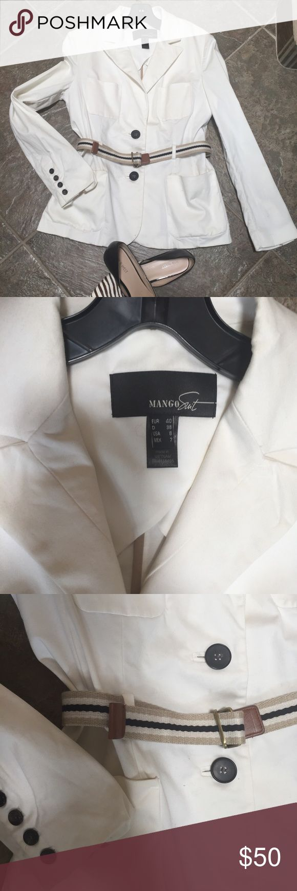 Blazer from Mango White blazer  from Mango Suit. Size 8. 97% cotton 3% elastane. It has two front pockets, one decorative pocket on the left side and stripy belt, worn couple times, perfect condition, after dry clean. Mango Suit Jackets & Coats Blazers