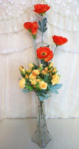 Sweet Home 23'' Blooming Rose and Meadow Poppy Silk Artificial in Glass Eiffel Tower Vase Arrangement (Wedding/ Home Décor/ Centerpiece) (Yellow) Sweet Home Deco,http://www.amazon.com/dp/B00ILNHP1A/ref=cm_sw_r_pi_dp_qV0ctb0Q5V3101F4