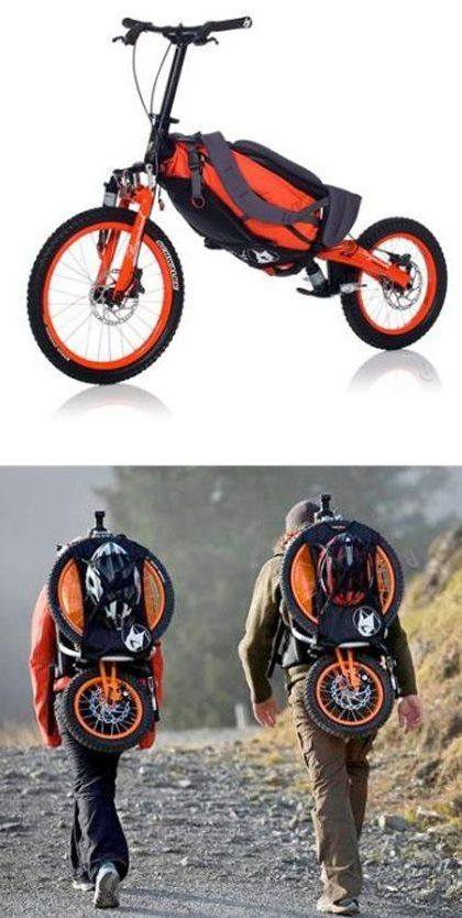 Folding backpack bicycle // Hike uphill, ride downhill! Awesome! I want one! #product_design