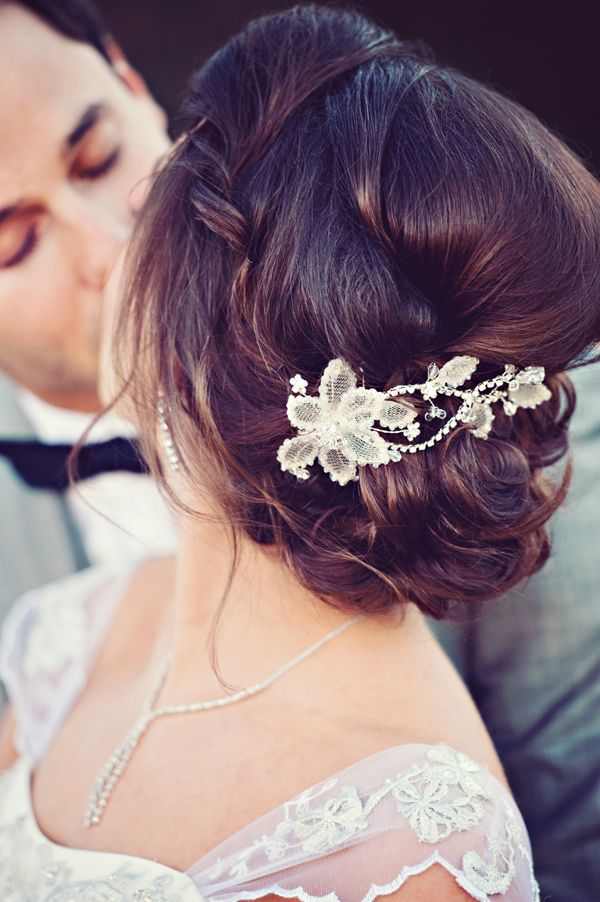 Wedding Hair Idea - Braided and in a Bun, Topped with a Pearl Clip
