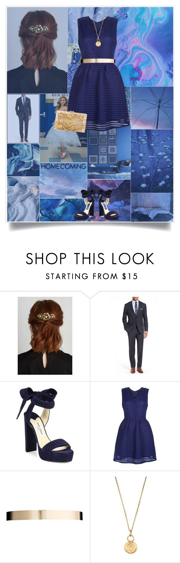 """""""// Fool's Gold // Homecoming 2016 // Contest //"""" by pessimistic-optimist ❤ liked on Polyvore featuring BOSS Hugo Boss, Jimmy Choo, New Look, ASOS, Aurélie Bidermann and Charlotte Olympia"""