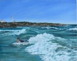 'Catching Waves' a painting of a child having fun in the surf body boarding in the shadow of Pt Lowly Lighthouse  Acrylic Paint with Oil Paint Glaze on Canvas Price at $