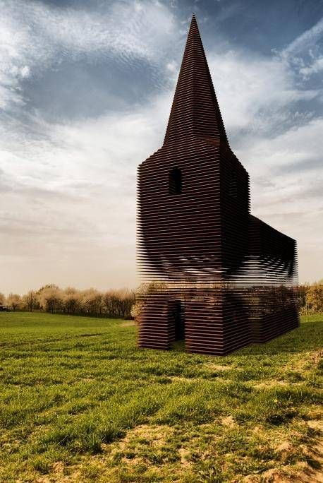 Designed in 2011 by architects Pieterjan Gijs and Arnout Van Vaerenbergh, this surrealistic folly in the Belgian city of Borgloon is composed of 100 evenly spaced layers of steel that are stacked, to almost diaphanous effect, in the form of a nave and steeple. Inspired by local church buildings, the 30-foot-high structure was created as a longterm work of public art along a walking path.