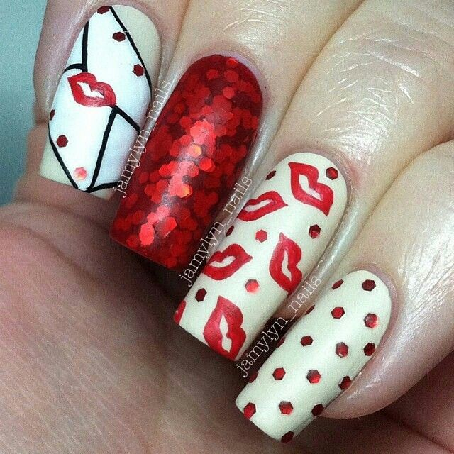 Valentines Day Nail Art Ideas: Part II - Love letter nails with red glitter  kisses! - 41 Best Valentine's Day Acrylic Nail Art Images On Pinterest Nail