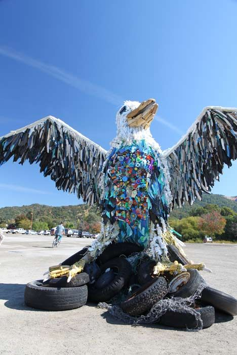 The bird, part of the project Washed Ashore, was crafted by a group of volunteers -- everyone from mechanics to school kids, the community pulled together to collect and craft pieces of art that would explain the huge, huge issue of plastic pollution in our oceans.