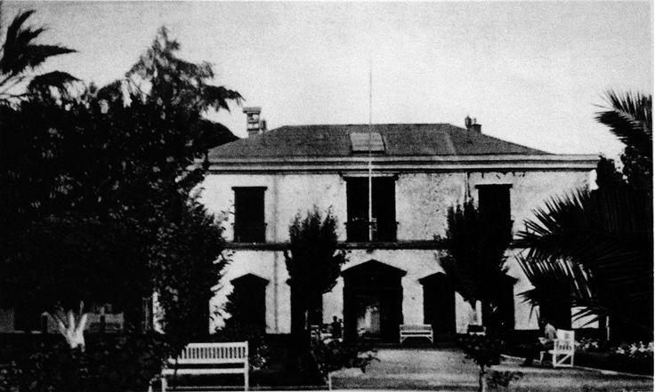 Escuela práctica de agricultura de Talca, ubicada en los terrenos de la chacra Versalles a orillas del río Claro. Ca. 1907