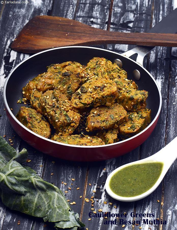 Cauliflower Greens and Besan Muthia