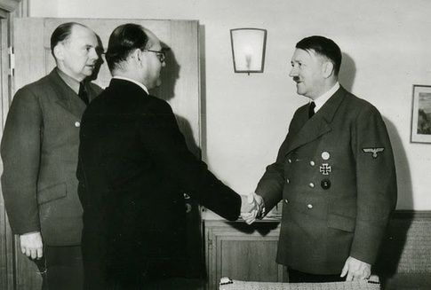Hitler meets Subhas Chandra Bose, leader of the Indian National Army which fought against British colonial rule.