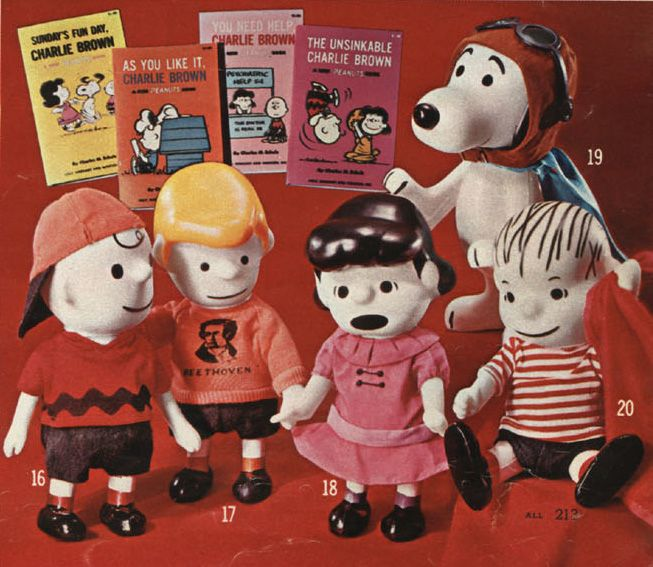 An assortment of vinyl Peanuts toys from the pages of the Montgomery Ward Christmas catalog, based on the characters created by cartoonist Charles M. Schulz, United States, 1968, by Hungerford Plastics Corporation. One could get two of the characters for $5.30 or the entire set (Charlie Brown, Schroeder, Lucy, Snoopy, and Linus with his trademark blanket) for $12.90.