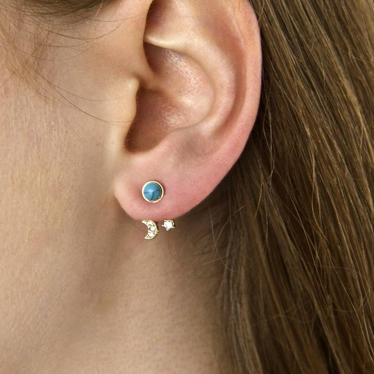 Two Way Turquoise Moon And Star Earrings