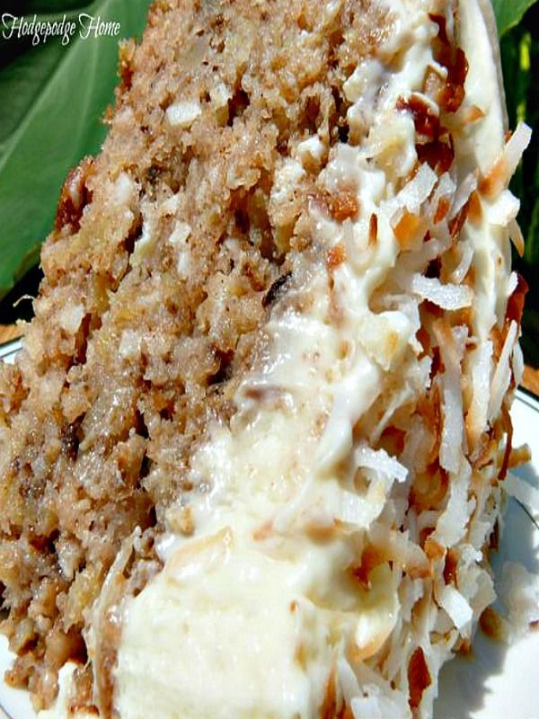 This Hawaiian Wedding Cake with Whipped Cream Cheese Frosting -just melts in your mouth! no need to wait for a wedding to make this delicious pineapple, coconut, walnut, cinnamon and sugar cake that will have you going back for seconds, maybe thirds!