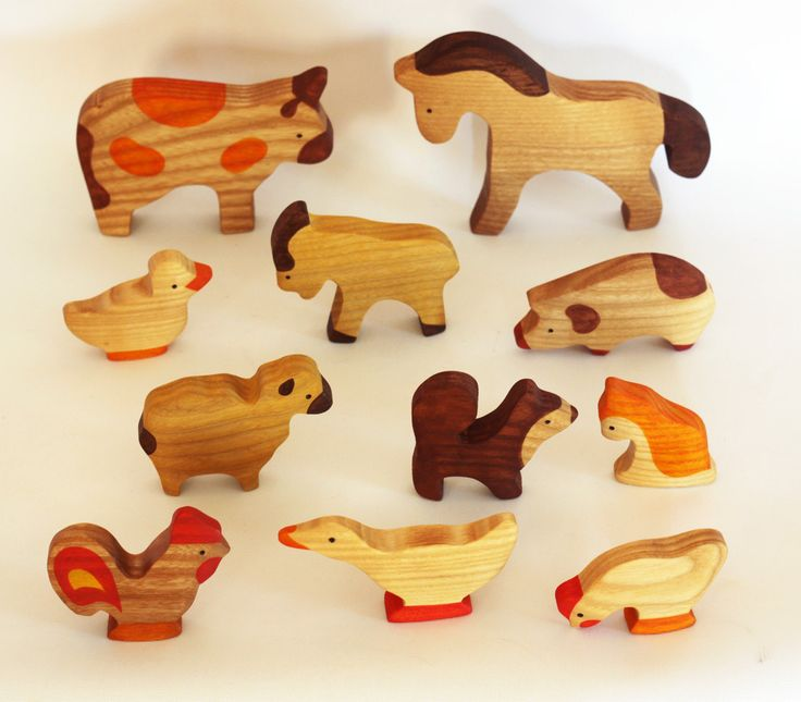 Farm Animals Toy Set Waldorf wooden toys Motor Skills Animal figures Eco friendly educational toys toddler gift Montessori by MikheevManufactory on Etsy