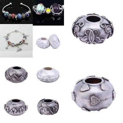 1pc Spacer Beads Charm 925 Sterling Silver Big Hole Fit European Snake Bracelet