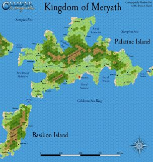 A work-in-progress version of Calidar's second poster map: a 10 mile per hex map of the Kingdom of Meryath.  It's still missing quite a few symbols that have yet to be drawn, and the art that is present is likely to be revised.