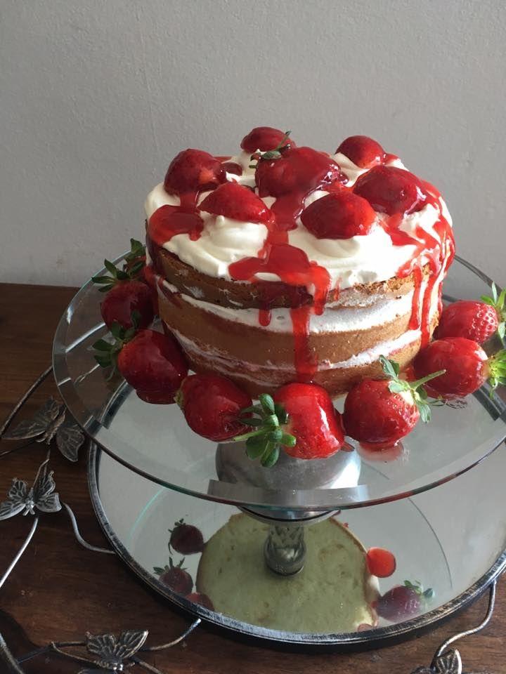 Strawberries & Cream cake with Cherry Coulis