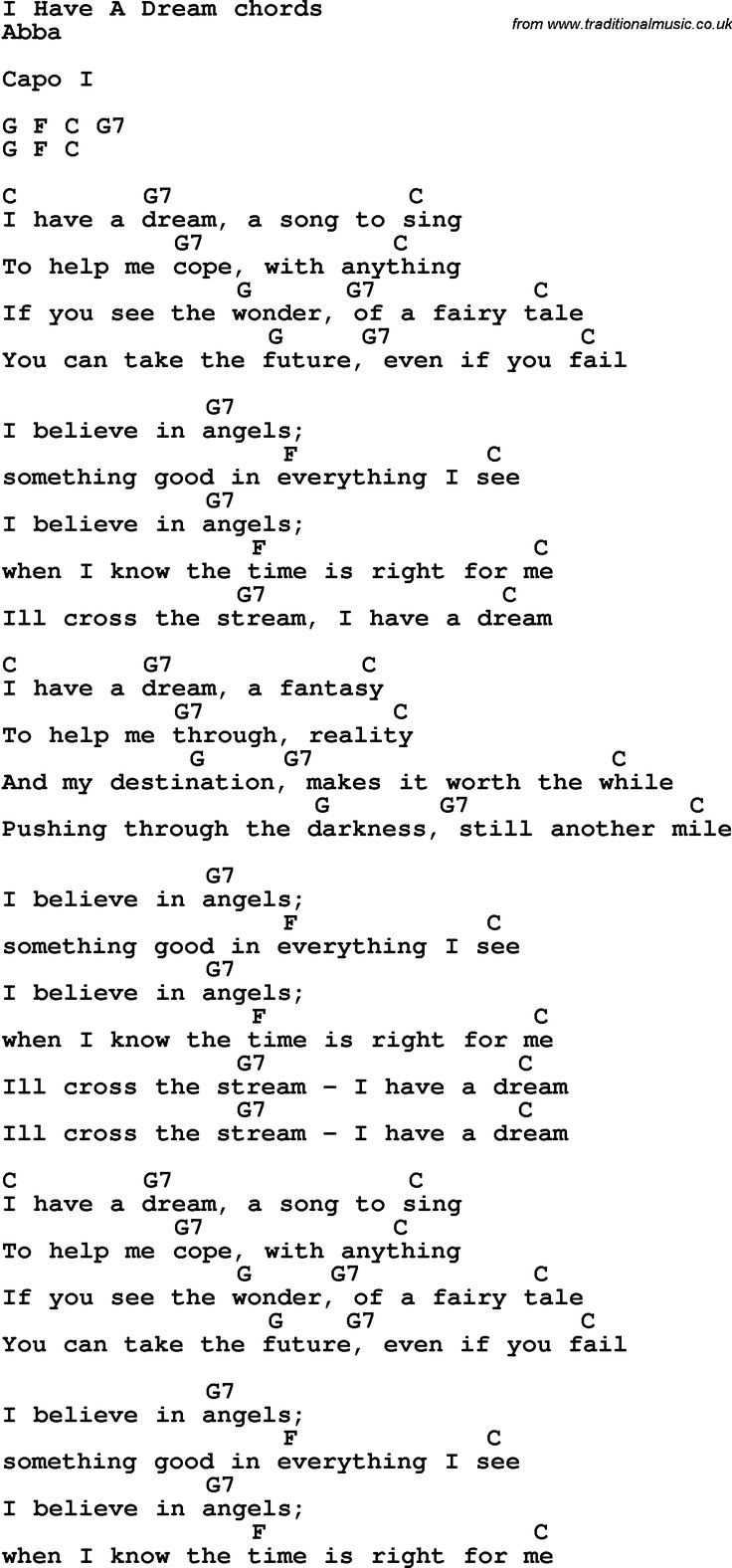 Song Lyrics with guitar chords for I Have A Dream