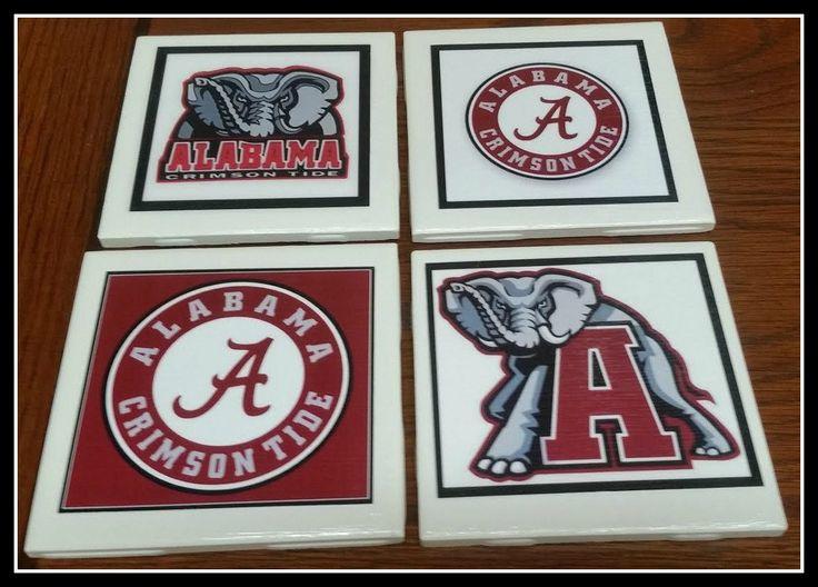 Home Decor Alabama Football Coasters, Decorative Ceramic Picture Tile Alabama Football Coasters Set Of 4, Crimson Tide Football Coasters by TSHeartsDesire374 on Etsy